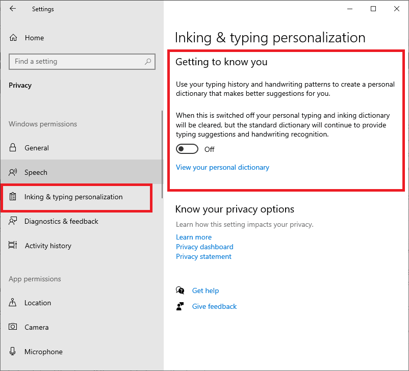 ink & typing personalization settings