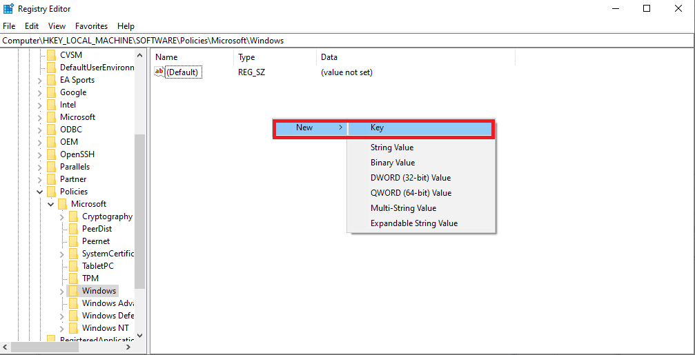 new and key (registry editor)