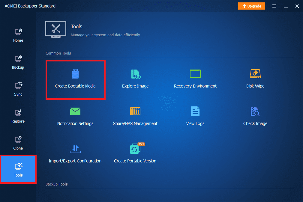 Select tools then create new bootable media