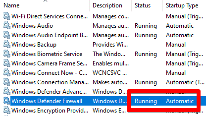 windows defender firewall running and automatic