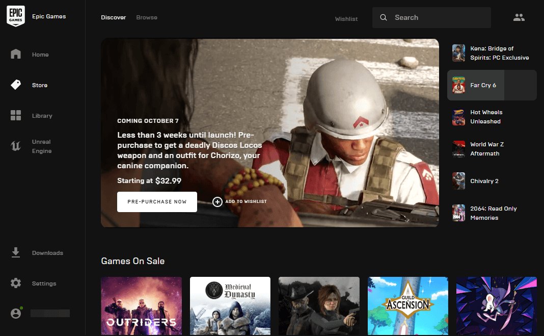 Epic Games Launcher working interface