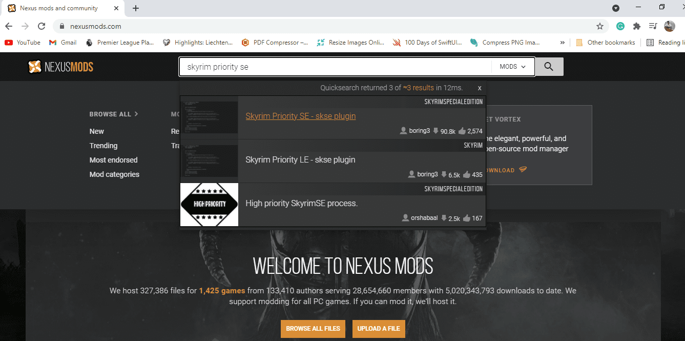 search for mods from the nexus website