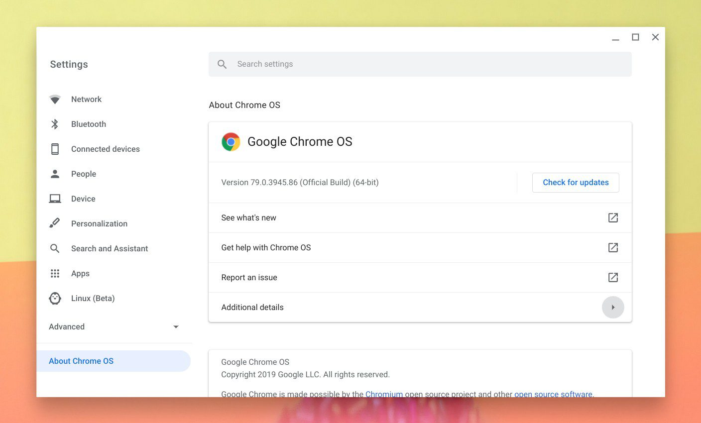 Settings - About Chrome OS