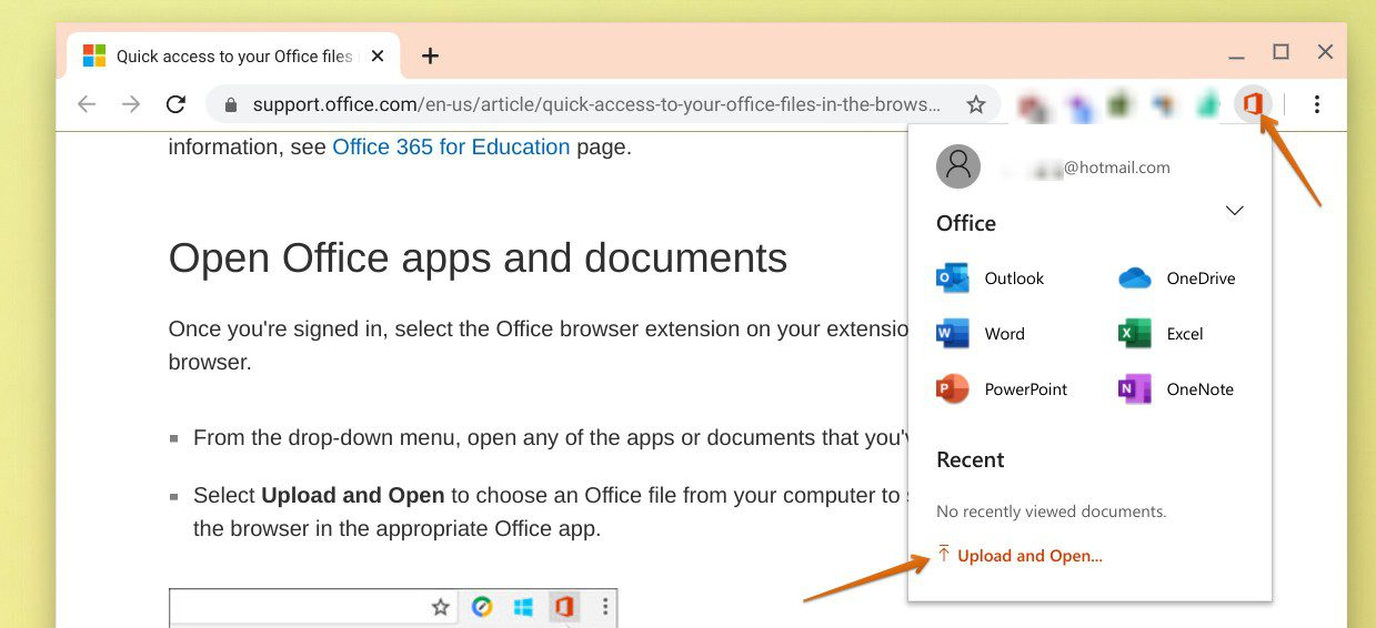 Upload or Open the Office file