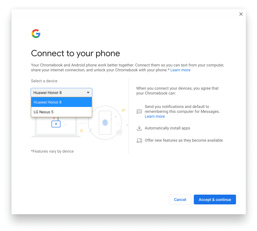 Connect to your phone wizard