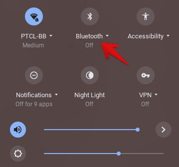 Clicking on Bluetooth