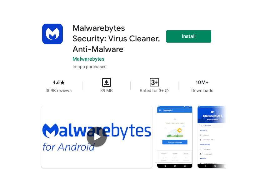 Installing Malwarebytes from the Play Store