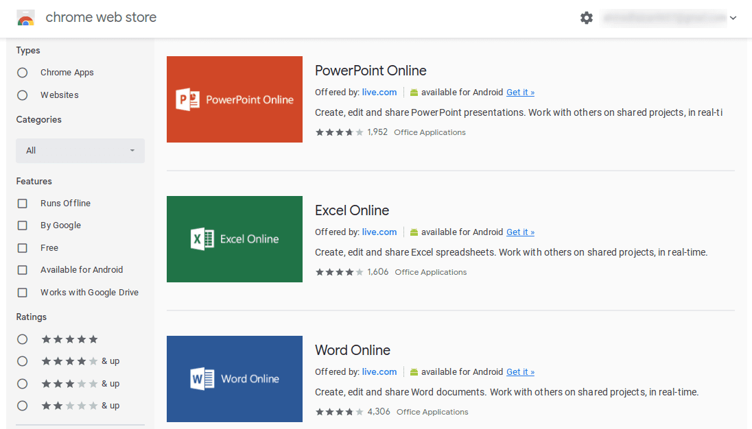 Office Apps on the Chrome Web Store