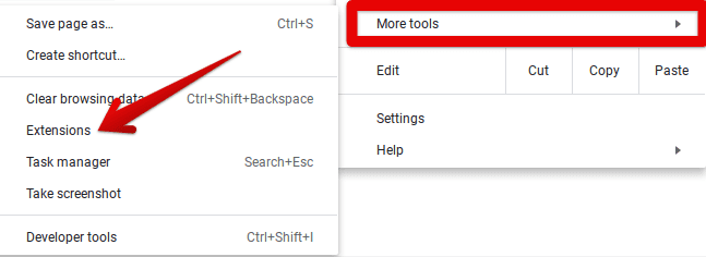 Clicking on Extensions