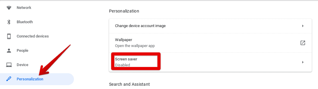 """Accessing the """"Screen saver"""" Settings"""