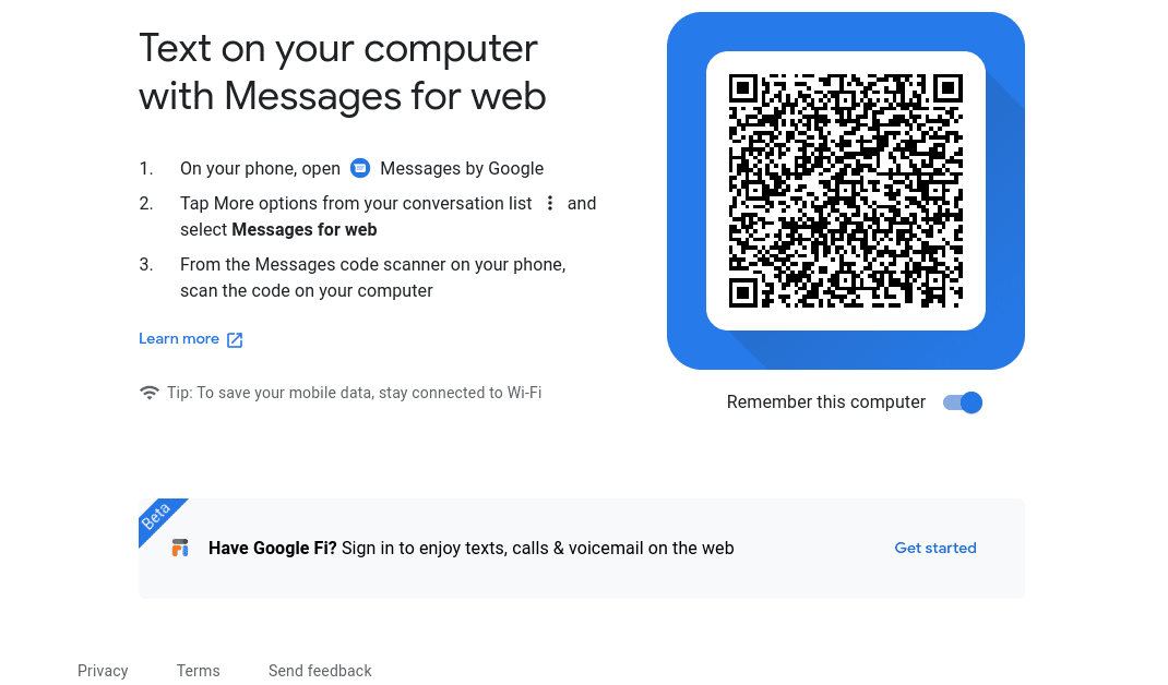 Messages App on Chrome OS