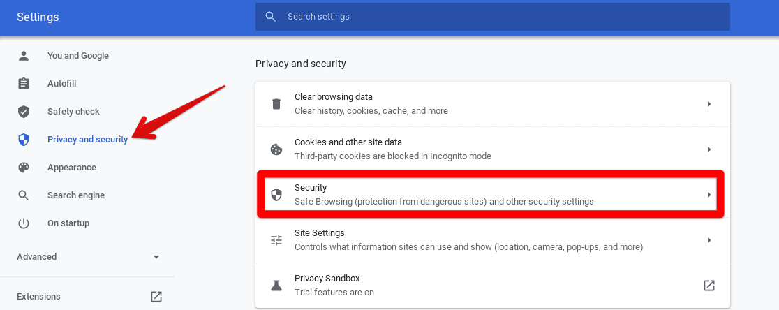 Accessing Security Settings