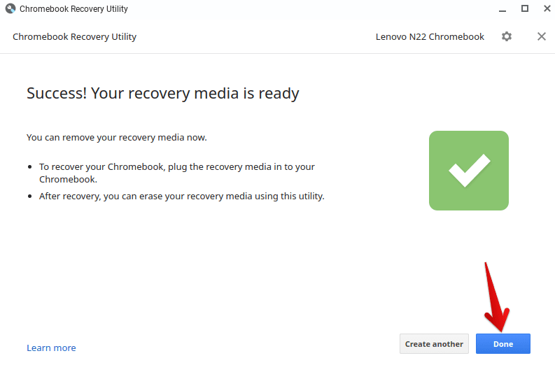 Recovery Media Creation Complete