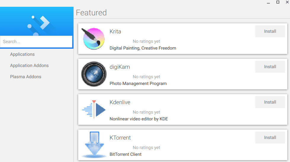 KDE Discover working