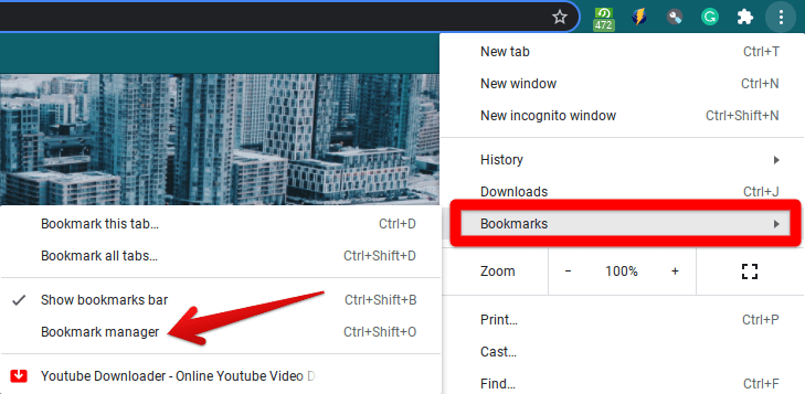 """Clicking on""""Bookmark manager"""""""