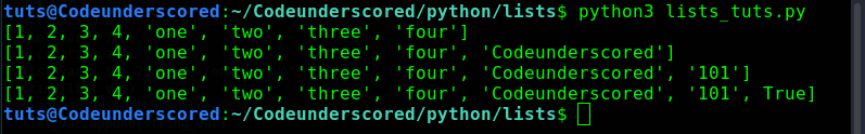list append() method to append string, numbers and booleans
