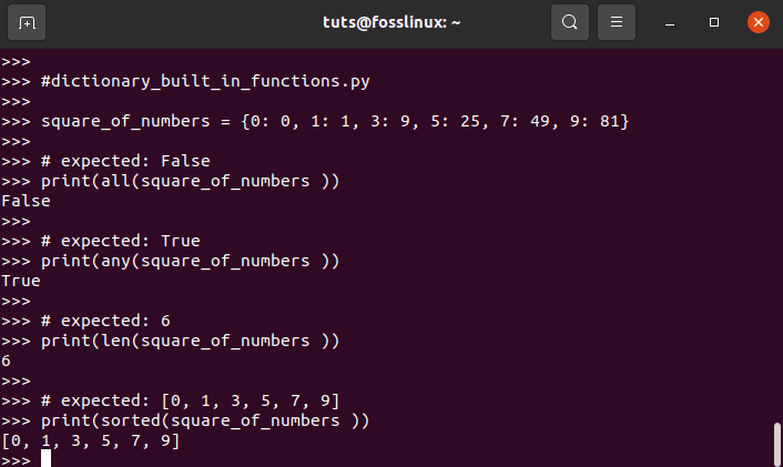 Examples of Dictionary Built-in Functions