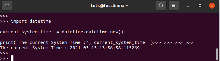 Using datetime Module to Find the Current System Time