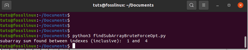 Finding the SubArray using Optimized Brute-Force