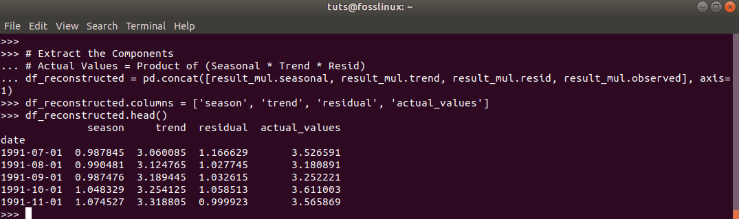 how to extract residual and the components and put them in a dataframe