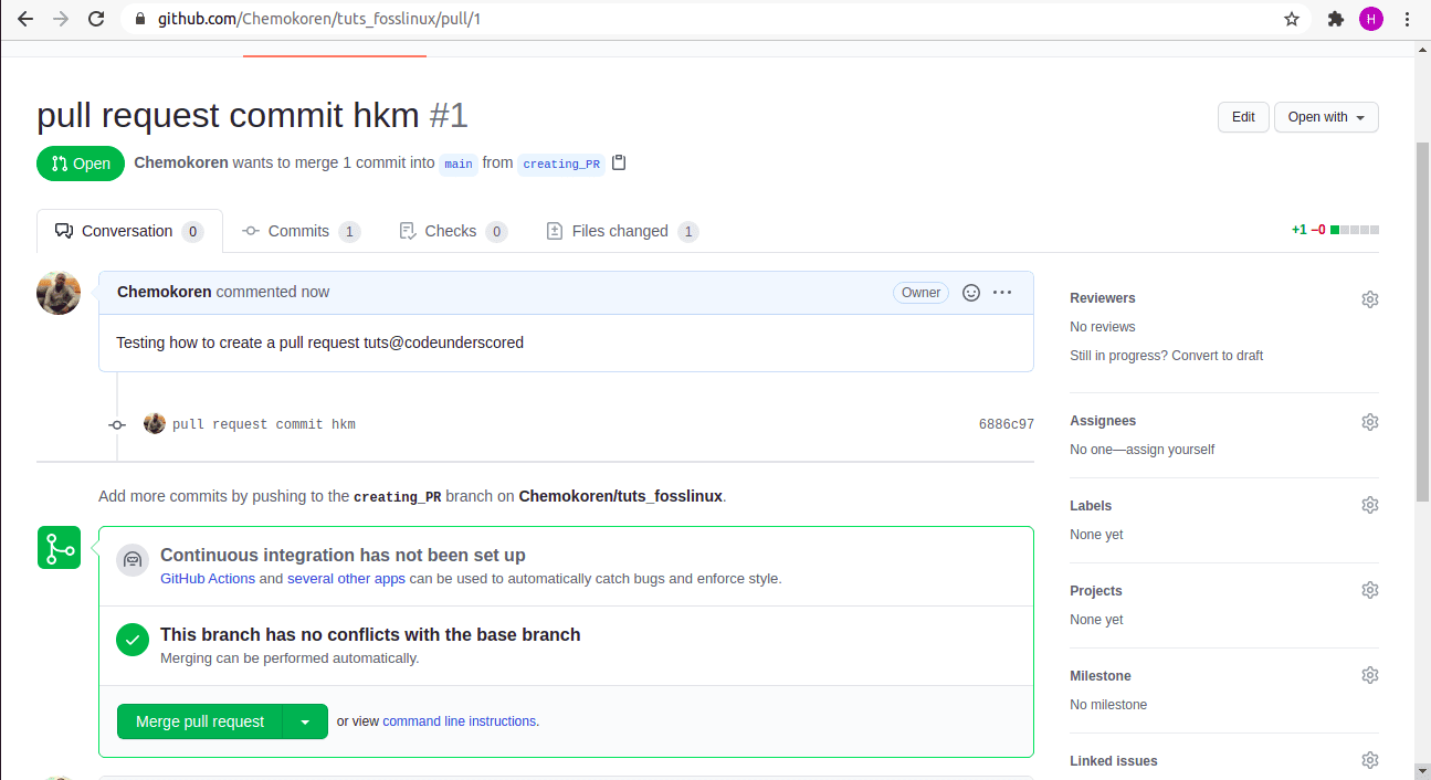 a completed pull requests