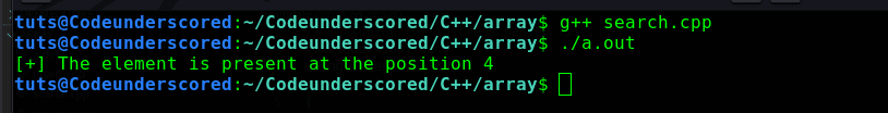 C++ program to search an element in an array and return its position