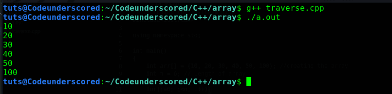 C++ program to traverse the elements of an array