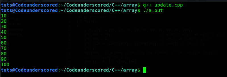 C++ program to update the value of a given position of an array