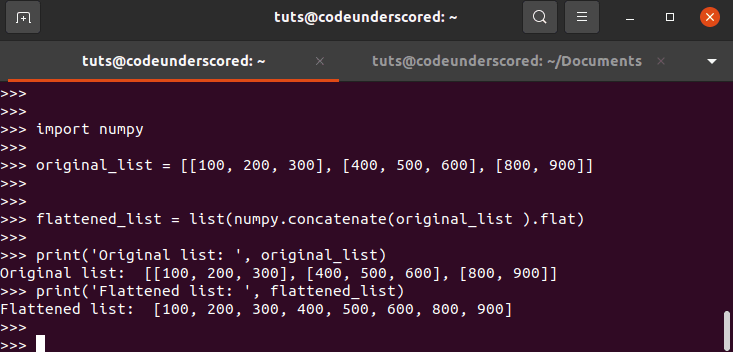 List of Lists should be flattened Using NumPy (flat() and concatenate())
