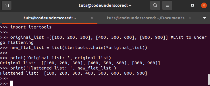 List of Lists should be flattened by itertools.chain()