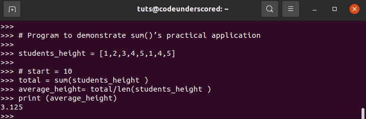finding the average number of a list of numbers using sum()