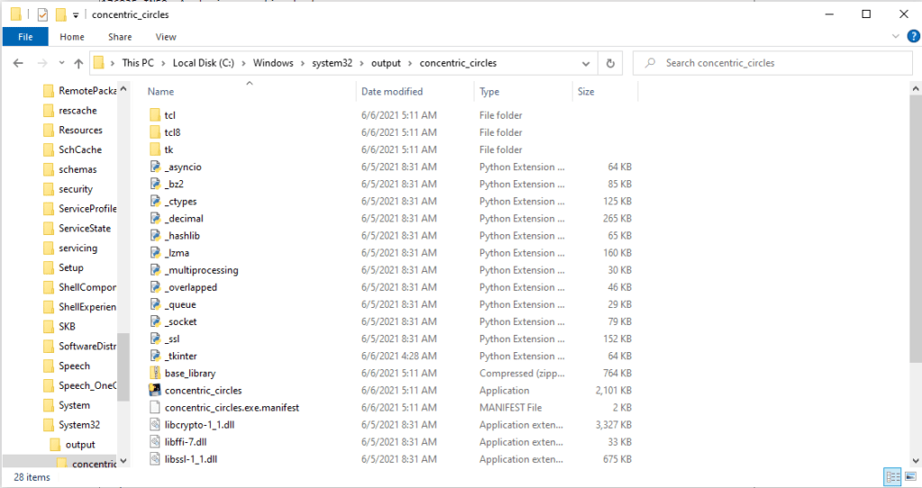 Contents of  concentric_circles directory