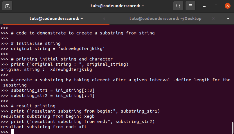 Example-2: demonstrate to create a substring from string