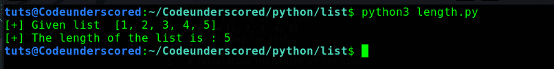 Python program to calculate the length of a list using the len() function