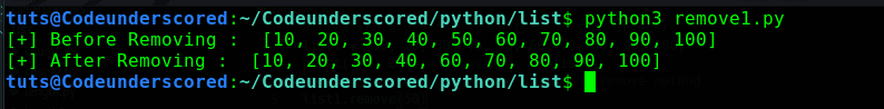 Python program to remove an element from a list using the remove() method