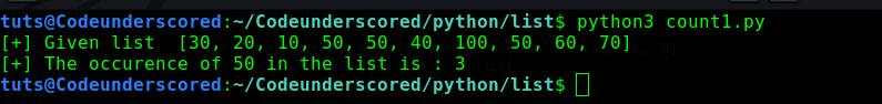 Python progrm to count the number of occurence of an element in a list using the count() method