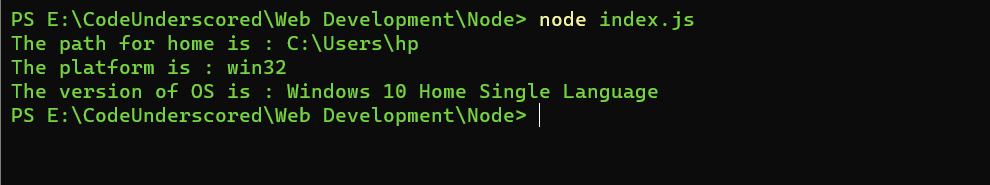 Using the os module of node using the require() function