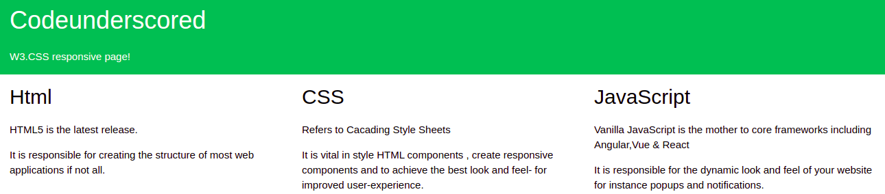 W3.CSS responsive page