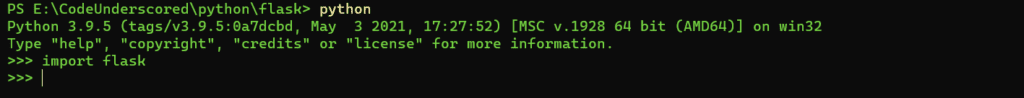 checking the installation of flask by importing the library