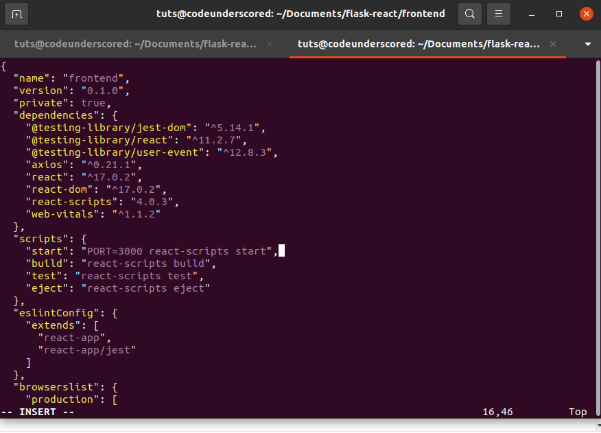 contents of package.json