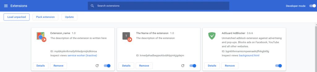 loading the unpacked extension in chrome