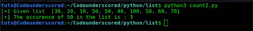 python program to count the occurence of an element in a list using for loop