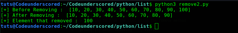 python program to remove an element from a list using the pop() method by passing index in argument