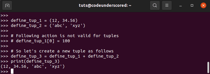 Value update in Tuples
