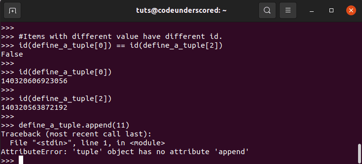 cannott append an item to a tuple