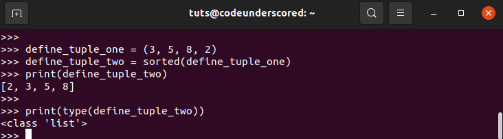 using sorted to order  tuples