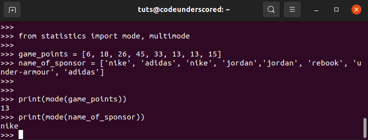 Using the Python Statistic Module's mode() functions