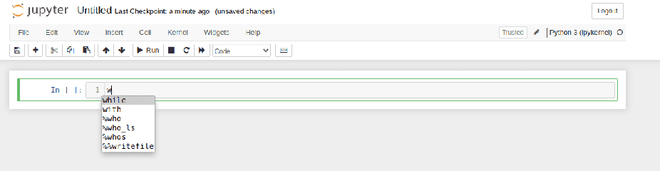 auto-complete options for letter 'w'