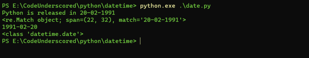 extracting a date from a text string using re.search() and strptime() method