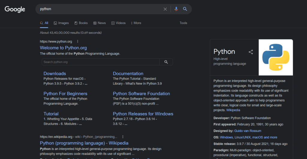 searching the user input text in google using the pywhatkit library